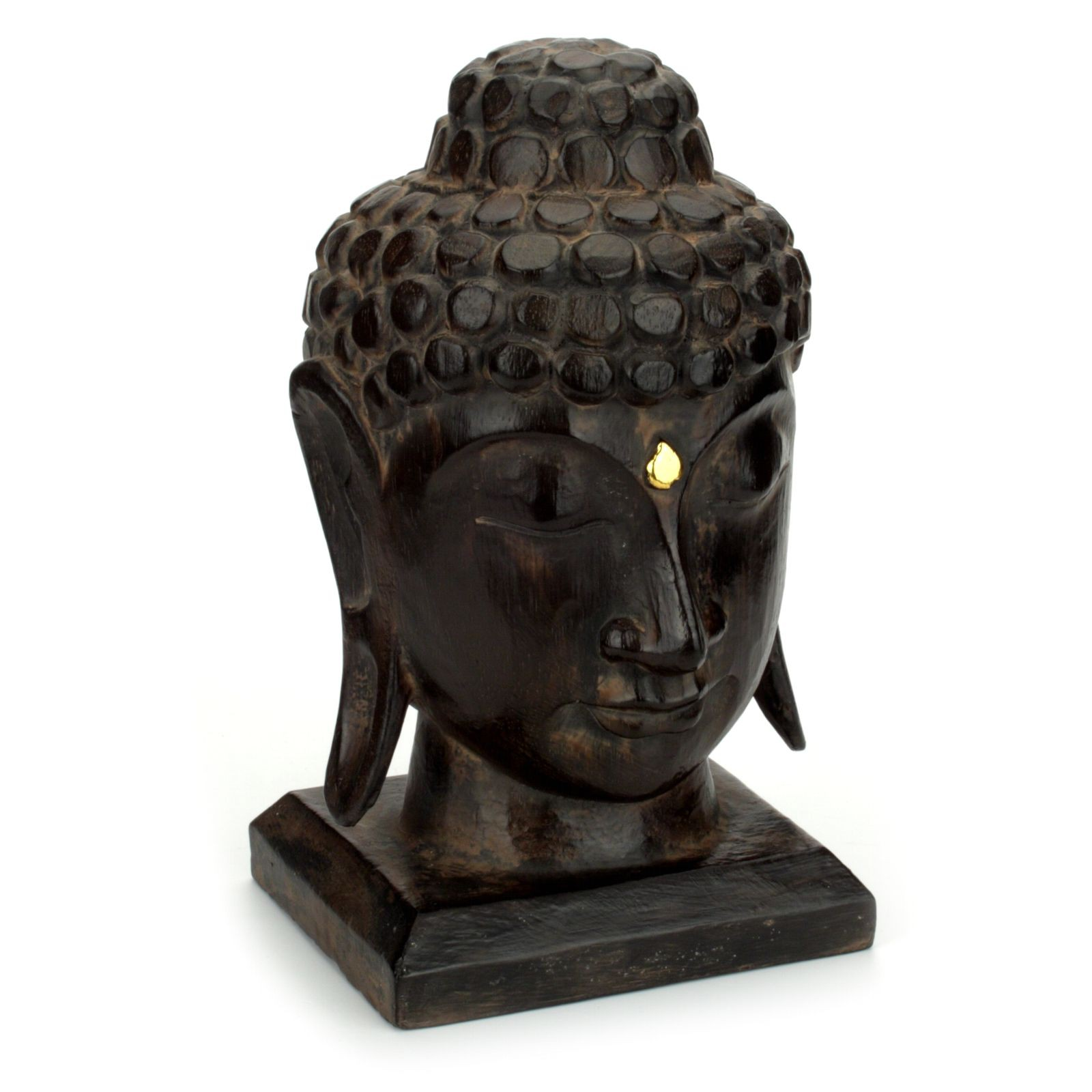 Buddha kopf figur aus holz gr s 25 cm ebenholzfarben for Buddha figur holz