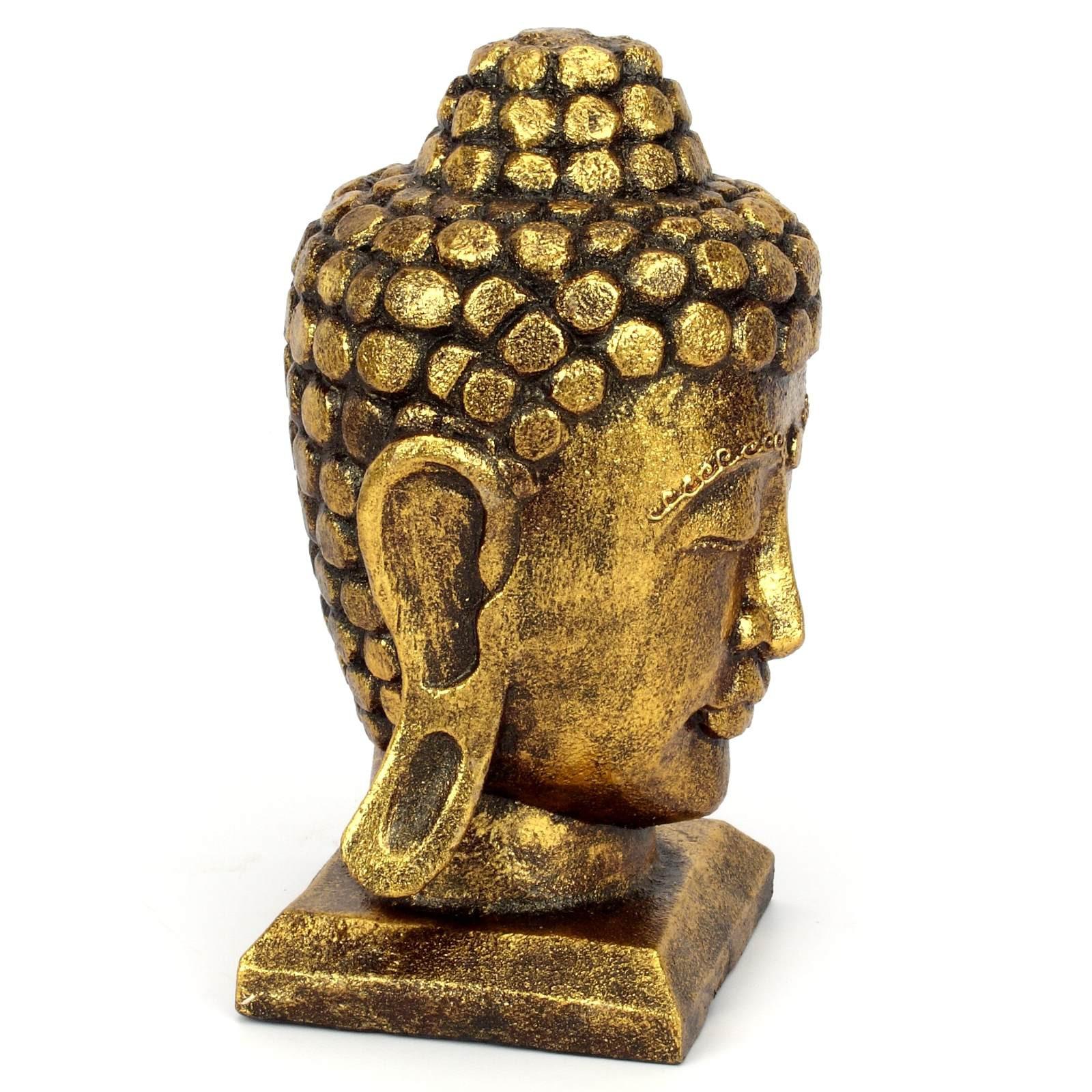 Buddha kopf figur aus holz gr s 25 cm gold 118783 for Buddha figur holz