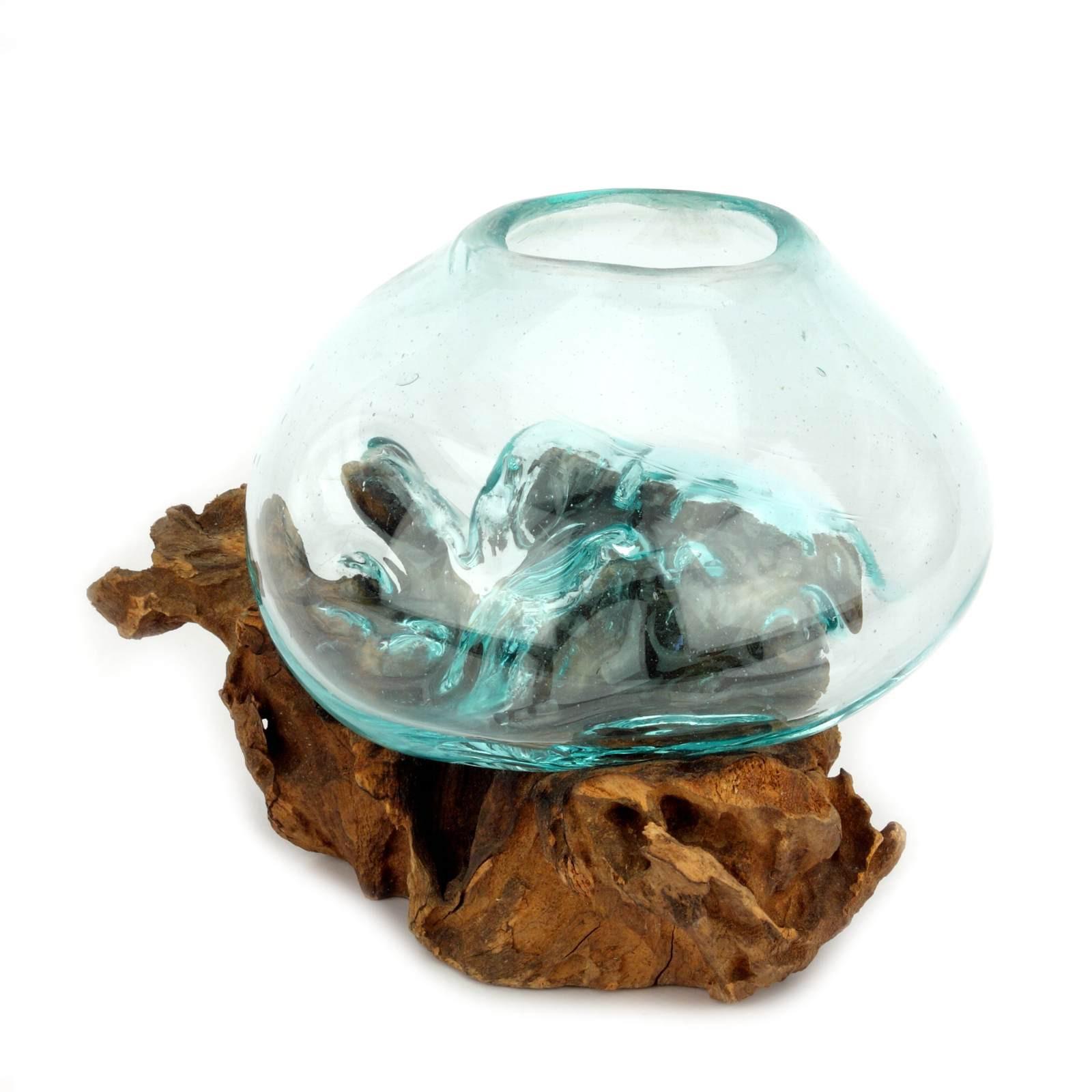 teak wurzel mit glas 15 cm handgefertigtes einzelst ck. Black Bedroom Furniture Sets. Home Design Ideas