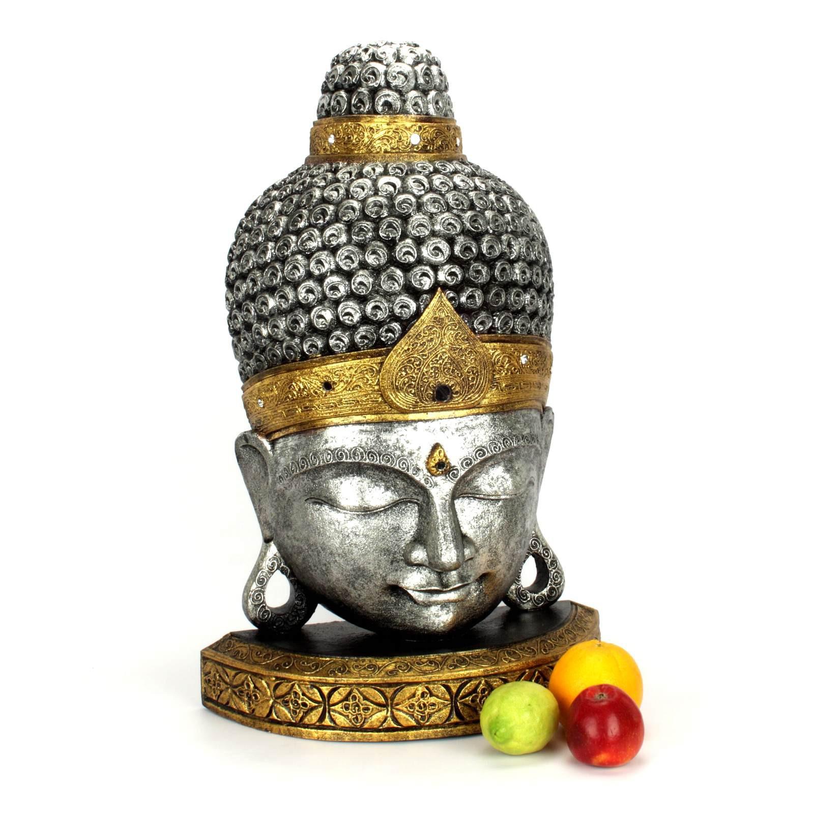 buddha kopf aus holz gr s 70 cm silber gold 118830. Black Bedroom Furniture Sets. Home Design Ideas