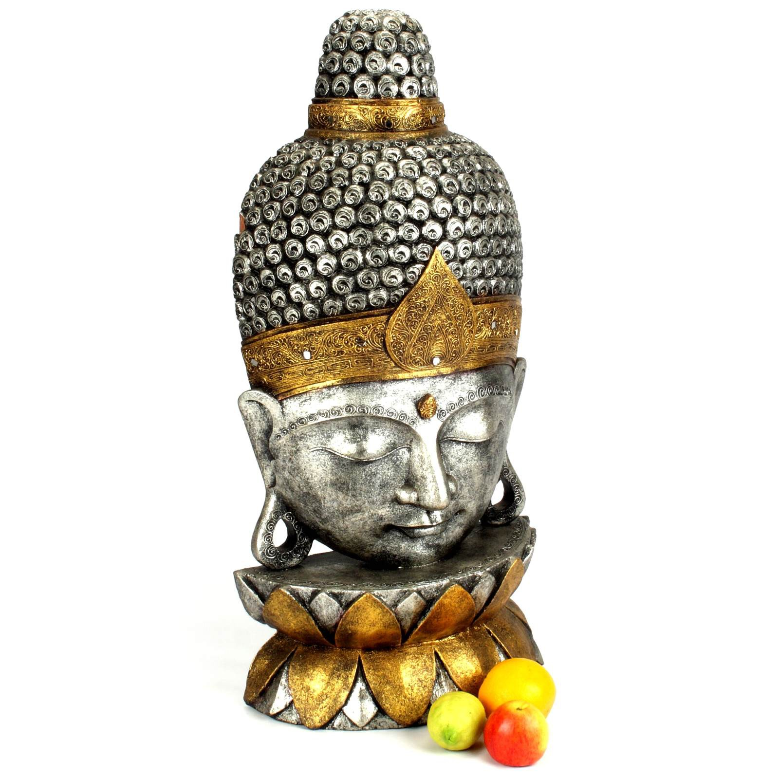 buddha kopf buddha skulptur gr m 80 cm silber gold 118837. Black Bedroom Furniture Sets. Home Design Ideas